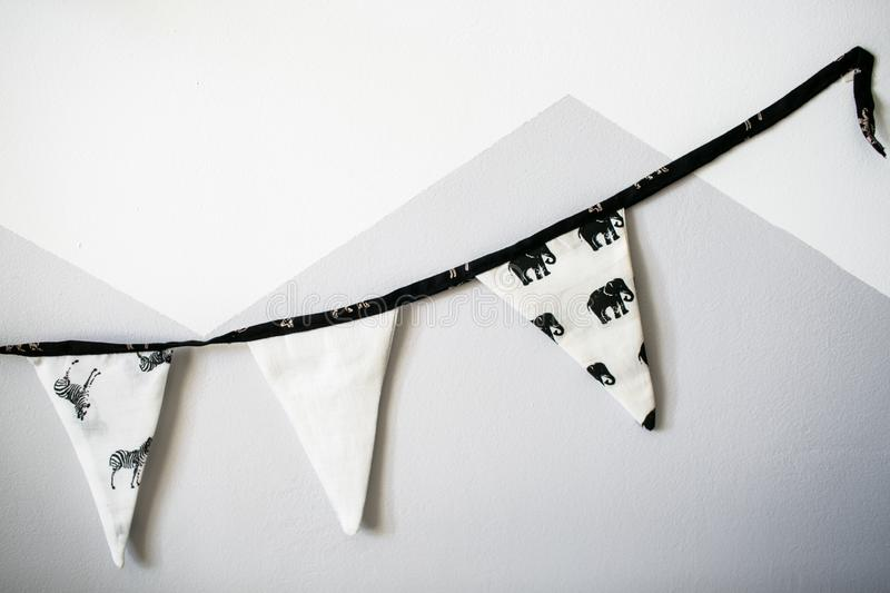 Triangle garland on the rope stock photos