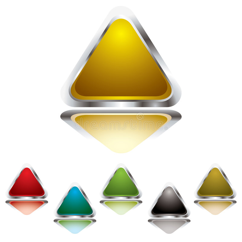 Triangle gel. Collection of six gel filled triangle icons with silver bevel royalty free illustration