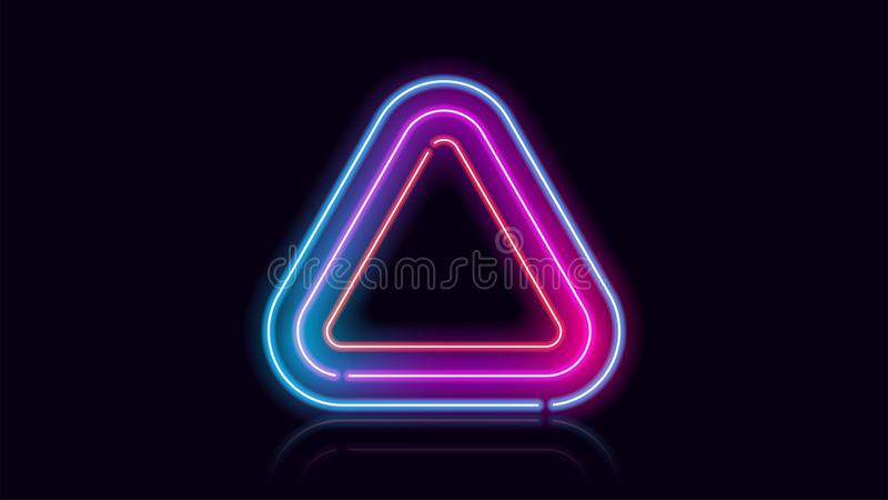 Triangle geometric neon fluorescent abstract background 库存例证