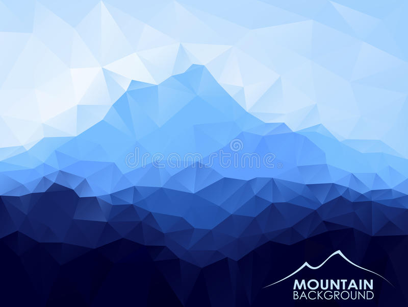 Triangle geometrical background with blue mountain royalty free illustration