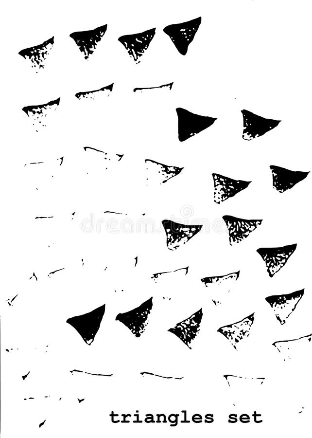 Triangle grunge brush set royalty free stock images
