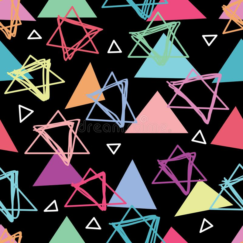 Triangle how can do seamless pattern. This illustration is abstract if triangle not match sense how can I do in black color background seamless pattern royalty free illustration