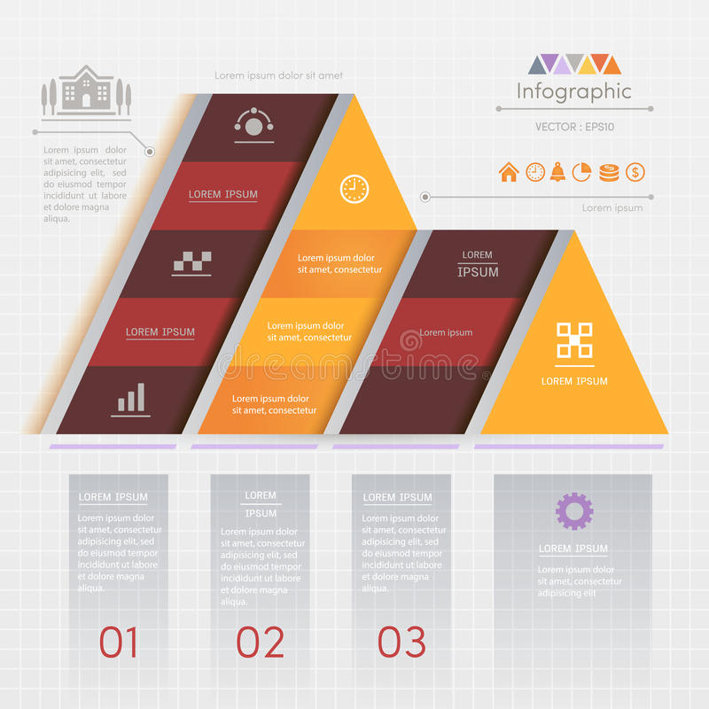 Triangle Infographics design template with business icons, process diagram, vector eps10 illustration vector illustration