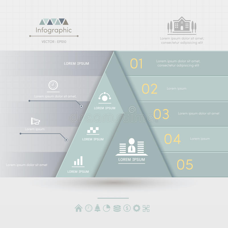 Triangle Infographics design template with business icons. Process diagram, vector eps10 illustration royalty free illustration