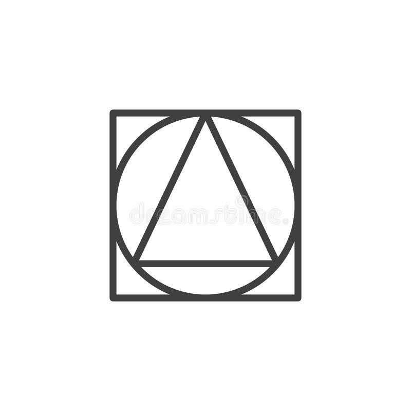 Triangle inside circle and square geometrical figure outline icon. Linear style sign for mobile concept and web design. geometric shape simple line vector icon stock illustration