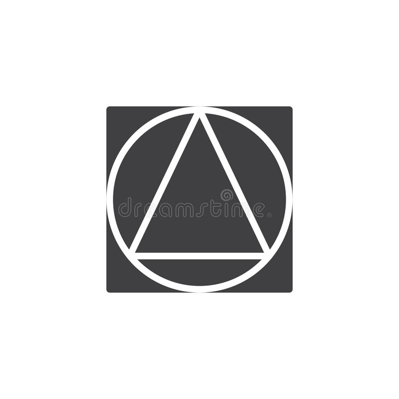 Triangle inside circle and square geometrical figure vector icon. Filled flat sign for mobile concept and web design. geometric shape simple solid icon. Symbol royalty free illustration