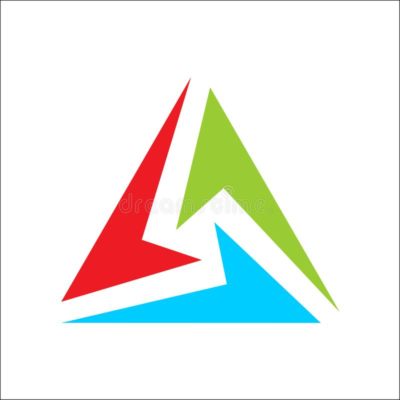 Triangle logo abstract color full stock illustration
