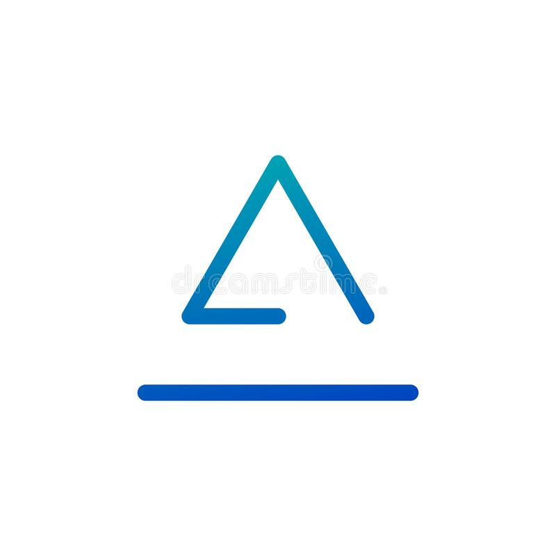 Triangle logo isolated on white background. Abstract letter A or Delta. Minimal logo design. Mountain and sea. Line art icon vector illustration