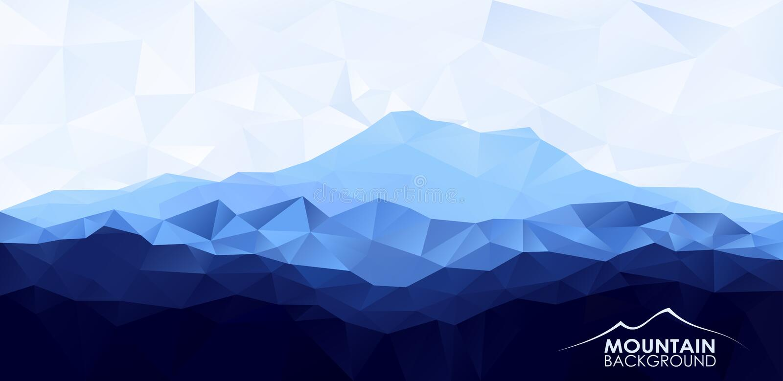Triangle low poly polygonal background with blue mountain stock illustration