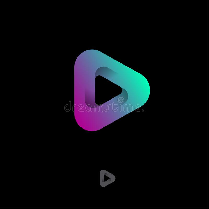 Triangle Mobius logo. Player, audio player icon, UI. Audio and Video emblem. stock illustration