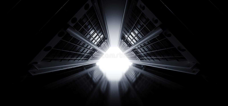 Triangle Moderne Grille Futuriste Métal Mesh Sci Tunnel Corridor Réflexe Plancher Clair Clair Blanc Flux Vide Espace Étranger Nav illustration stock