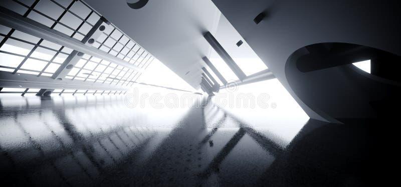 Triangle Moderne Grille Futuriste Métal Mesh Sci Tunnel Corridor Réflexe Plancher Clair Clair Blanc Flux Vide Espace Étranger Nav illustration libre de droits