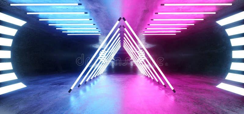 Triangle Nouvel Néon Violet Béton Oval Béton Sci Fi Futuriste Moderne Garage Hallway Underground Dark Night Studio Tunnel Corrido illustration de vecteur
