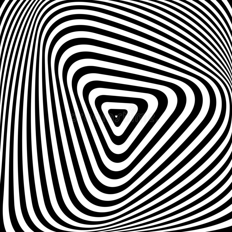Triangle pattern.  Lines texture. Illusion of rotation torsion movement vector illustration
