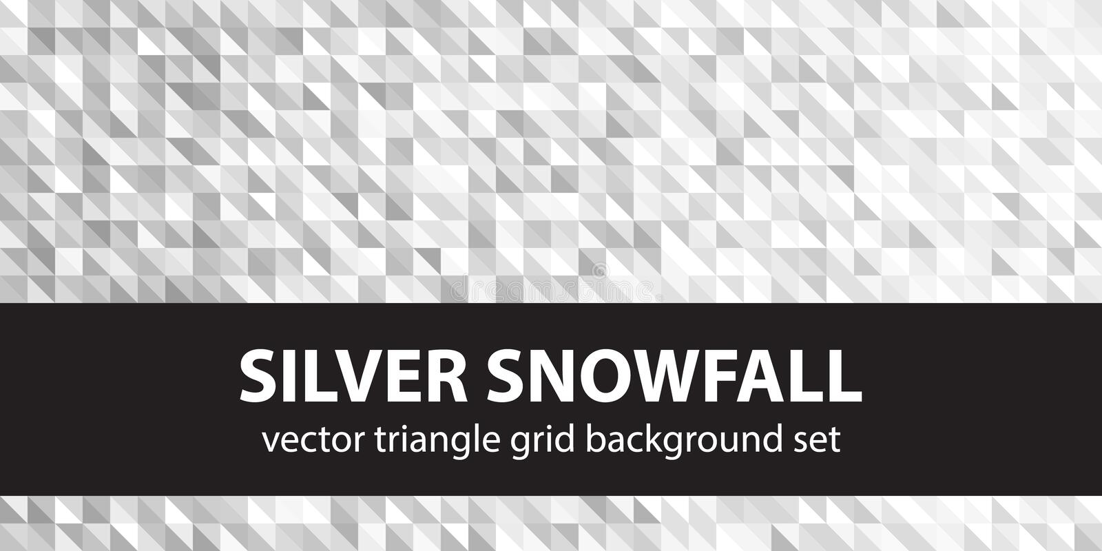 Triangle pattern set Silver Snowfall. Vector seamless geometric backgrounds with gray and white right triangles stock illustration