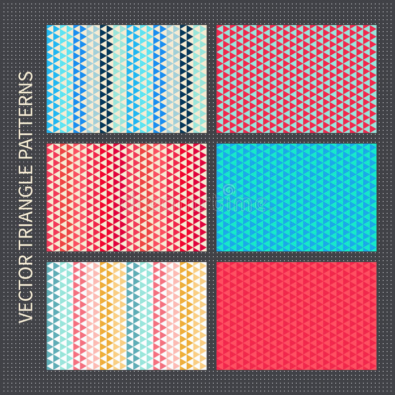 Triangle patterns set. Red, pink, blue, yellow vector seamless backgrounds vector illustration