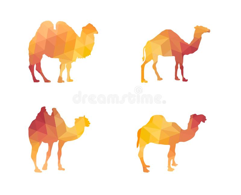 Triangle Polygonal Silhouettes of Camels stock illustration