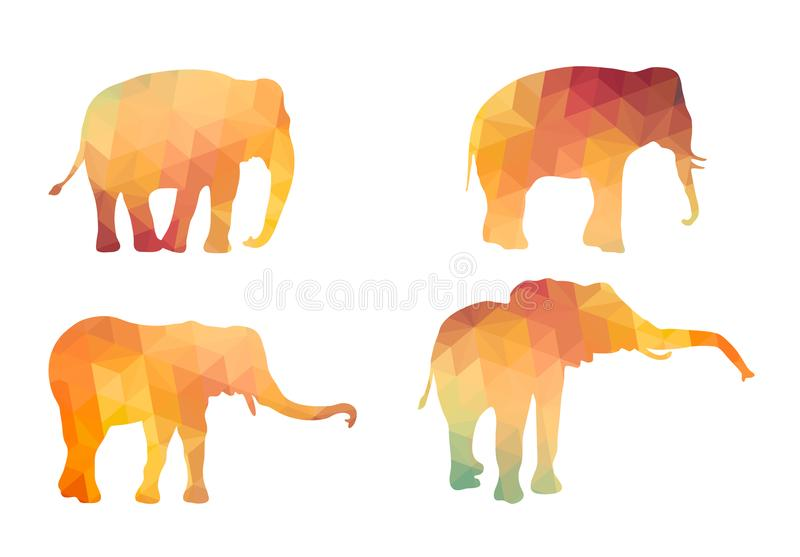 Triangle Polygonal Silhouettes of Elephant stock illustration
