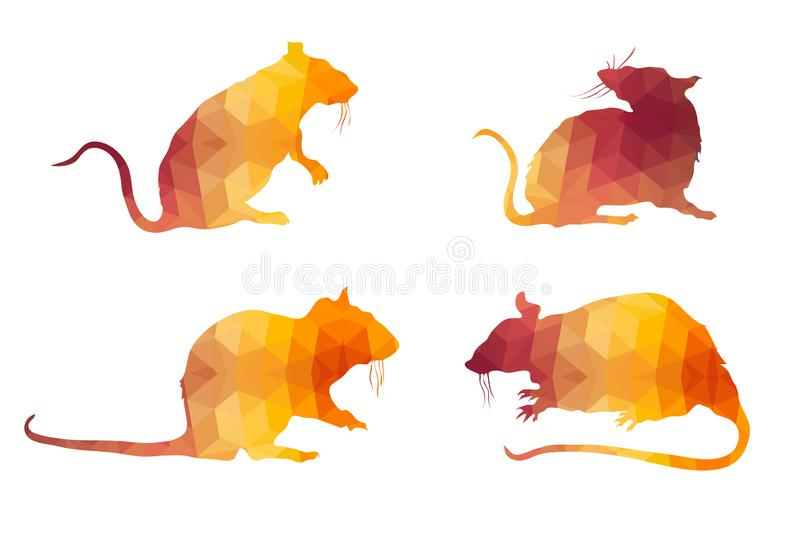 Triangle Polygonal Silhouettes of Mice vector illustration
