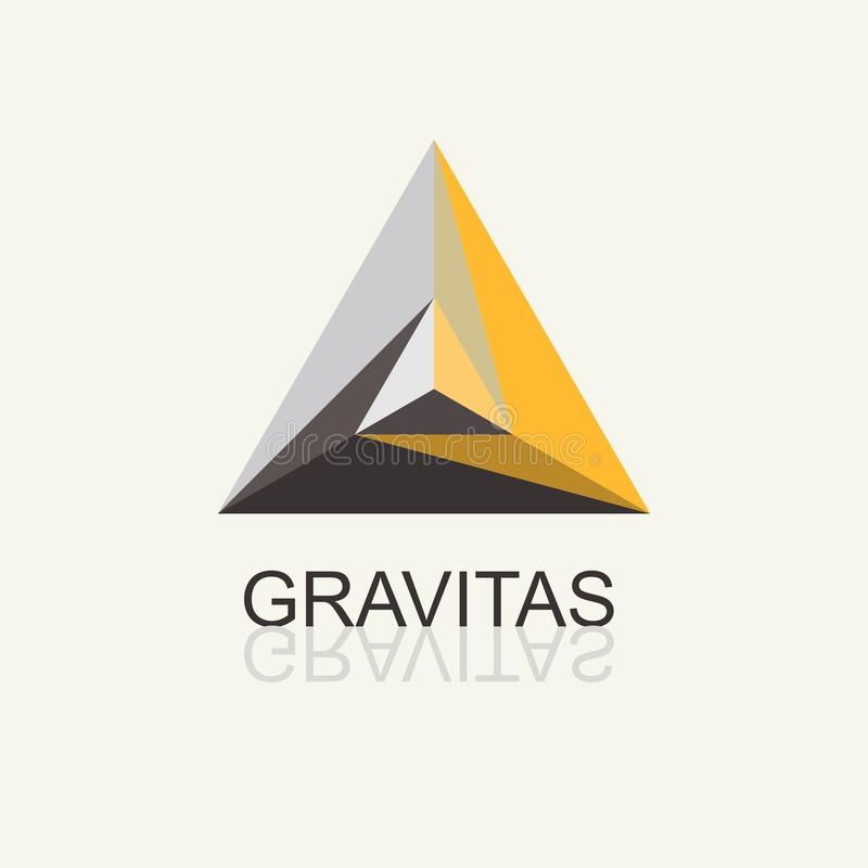 Triangle Pyramid Abstract Icon.Vector template for the logo, emblem royalty free illustration