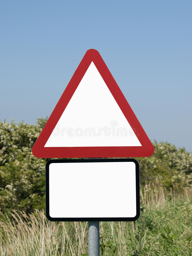 Triangle and rectangle sign. Triangular and rectangular sign with space for copy royalty free stock photos