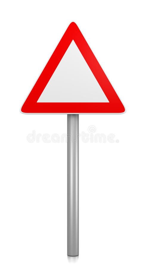 Triangle Road-Sign. Red and White Blank Triangle Road Sign on White Background 3D Illustration stock illustration