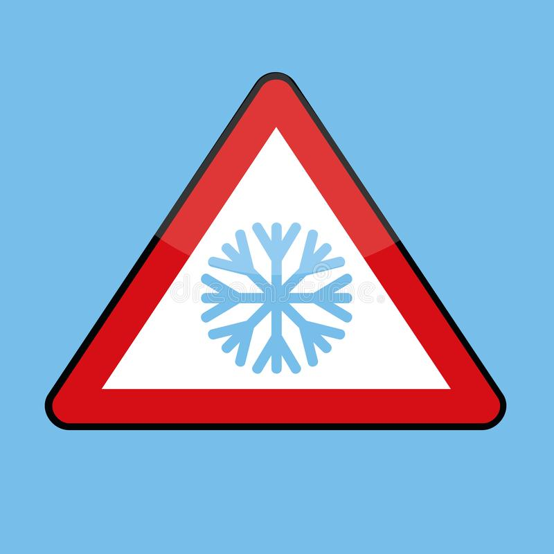 Triangle road sign with snowflake for cold winter. Vector illustration EPS10 royalty free illustration