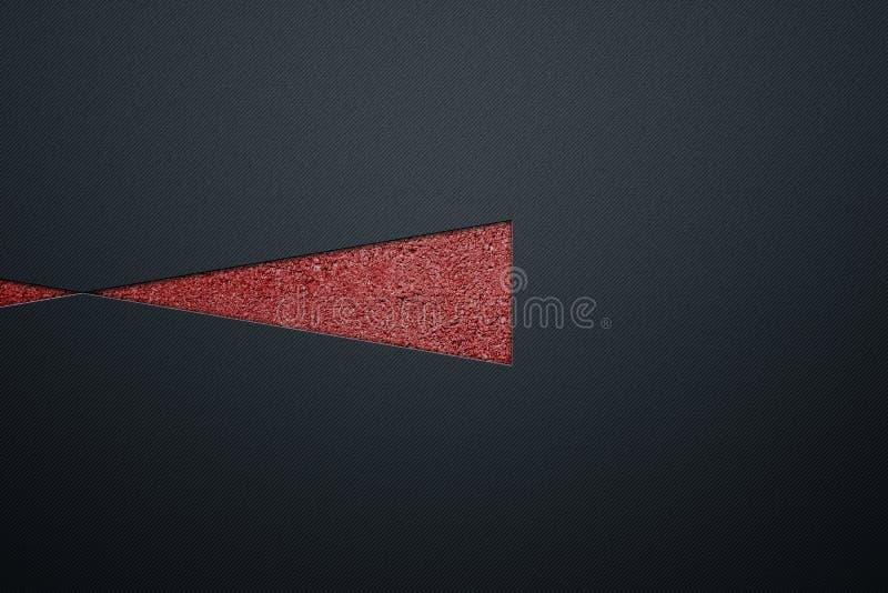 Triangle rouge sur le mur métallique de luxe illustration de vecteur