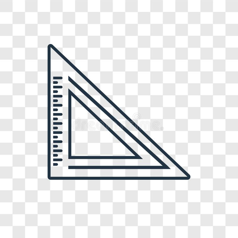 Triangle Ruler concept vector linear icon isolated on transparent background, Triangle Ruler concept transparency logo in outline. Triangle Ruler concept vector royalty free illustration