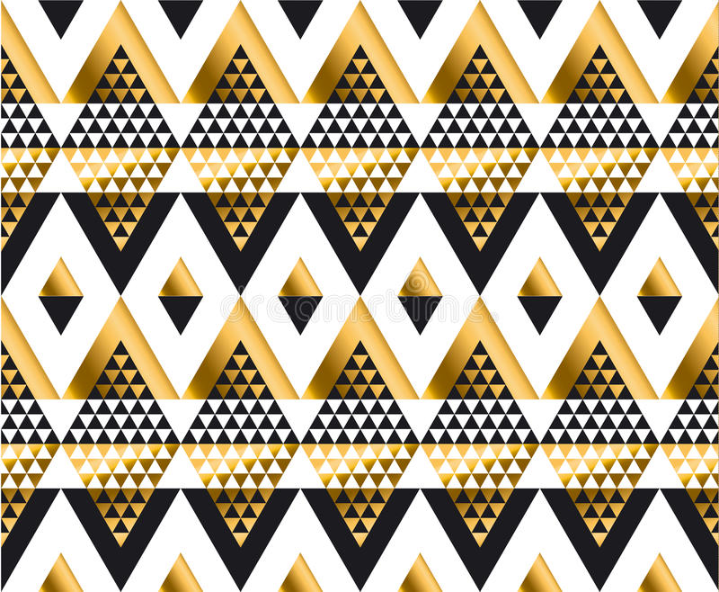 Triangle shape geometric African tribal seamless pattern. In luxury style. fashionable repeatable motif for wrapping paper, fabric, background royalty free illustration
