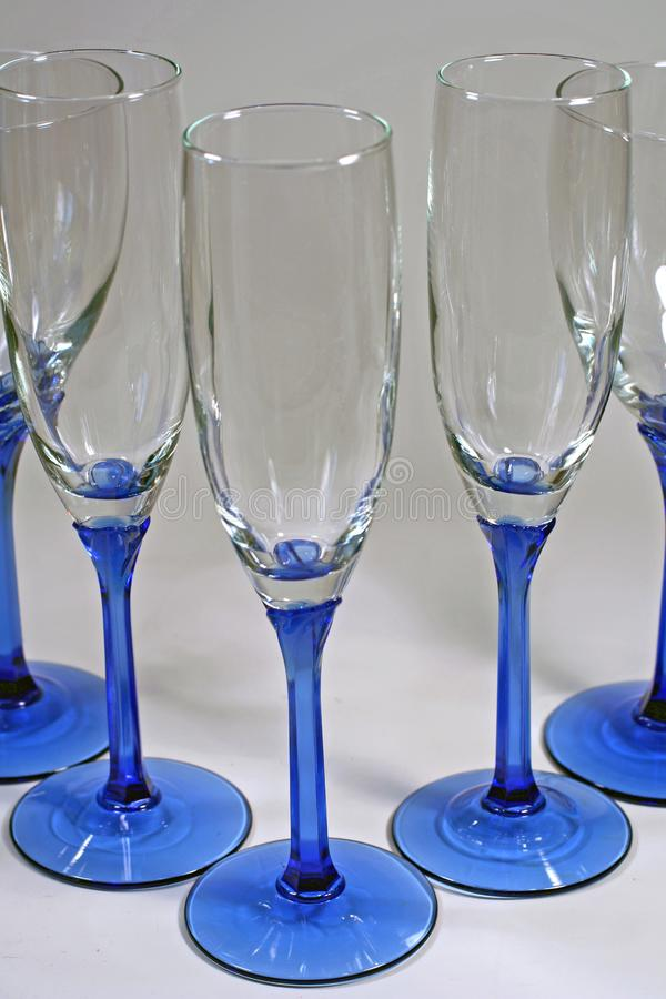 Download Triangle Of Shiny Blue Wine Glasses Stock Photo - Image: 5965122