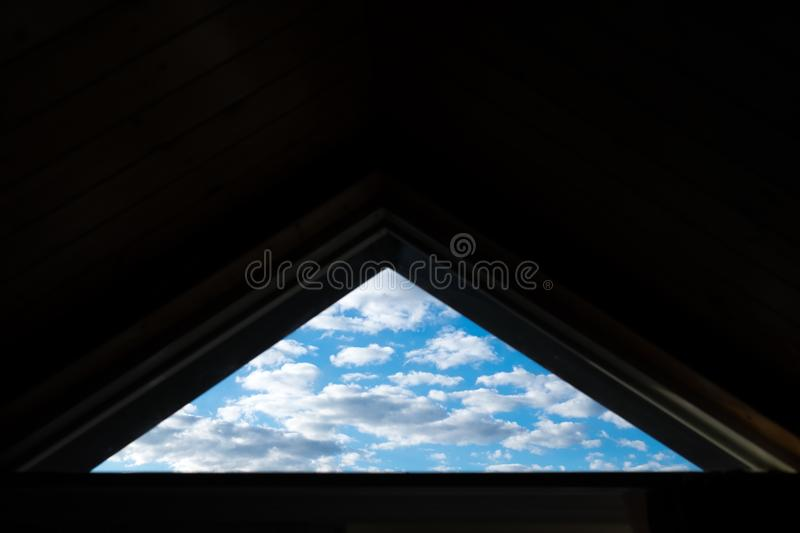 Triangle window of the sky royalty free stock images