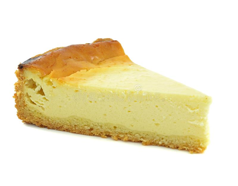 A triangle slice of plain cheese cake royalty free stock photos