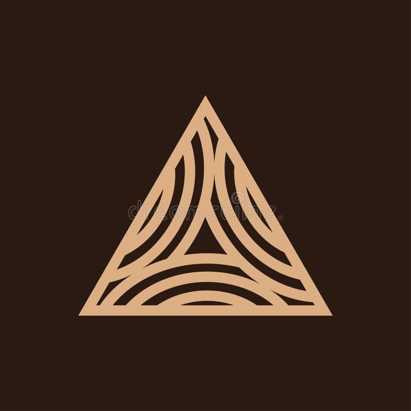 Triangle Timber logo design. Simple modern Carpentry Woodworking Logo design inspiration royalty free illustration