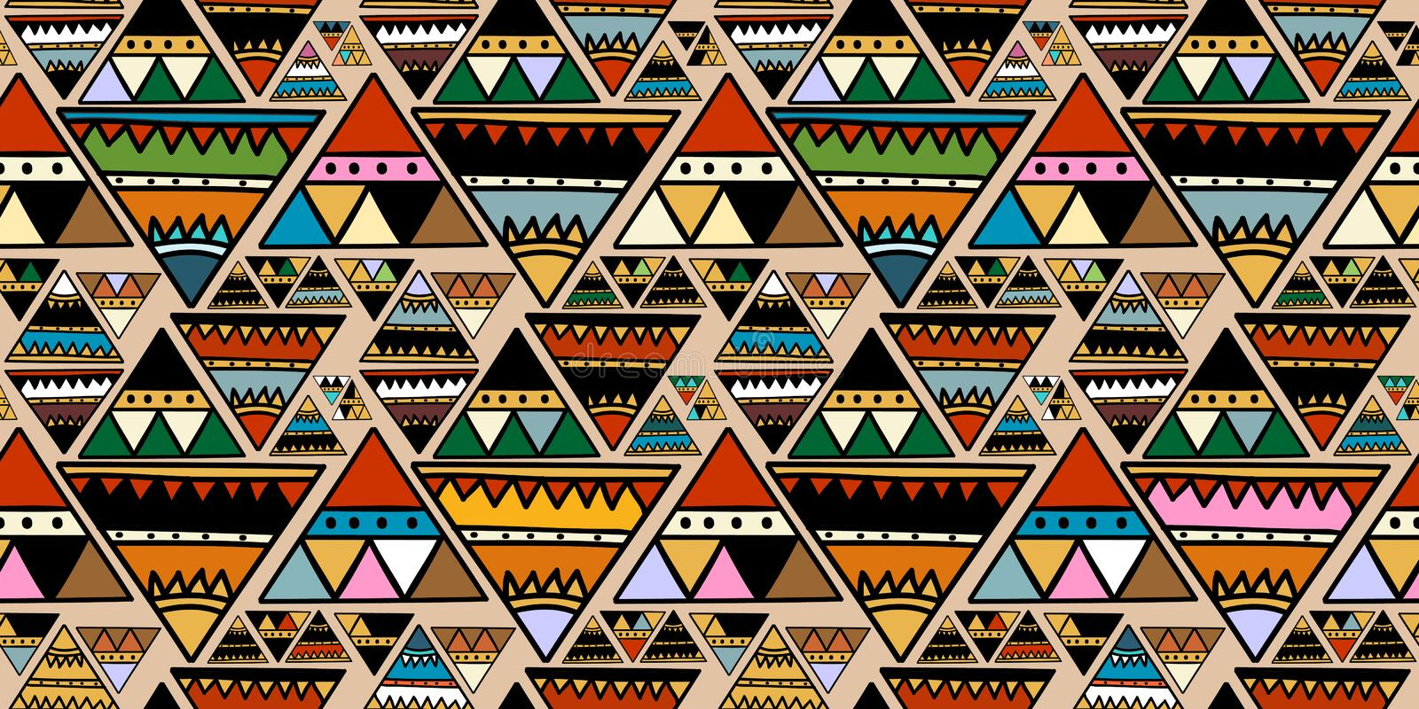 Triangle tribal motif with abstract seamless pattern colorful trendy colors for fashion textile print vector illustration stock illustration