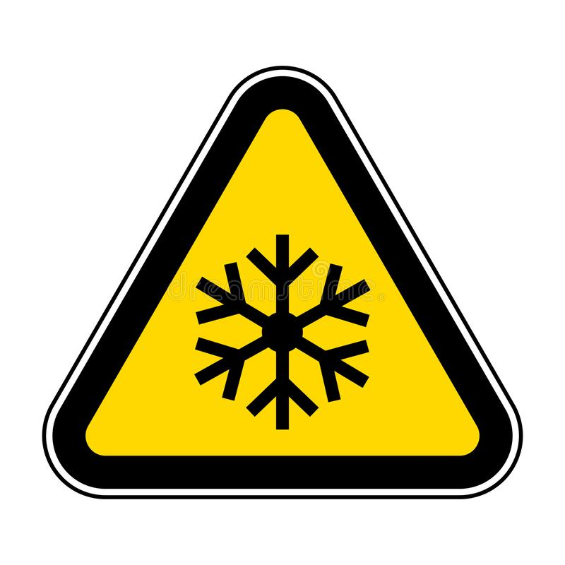 triangle warning sign with snowflake symbol Isolate On White Background,Vector Illustration EPS.10 vector illustration