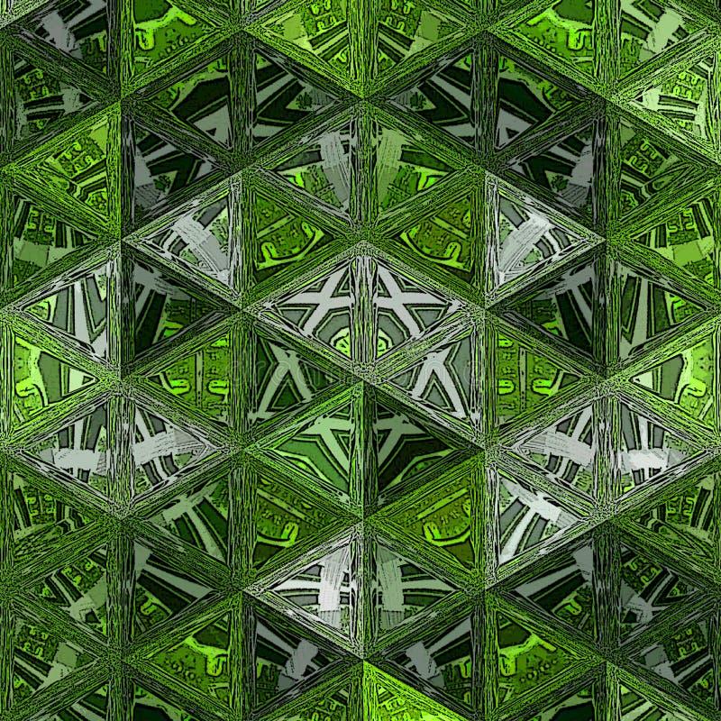 Triangles aléatoires sur un fond vert avec l'effet transparent photo libre de droits