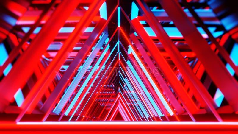 Triangles au néon abstraites avec l'intérieur vide noir de l'espace de copie illustration de vecteur