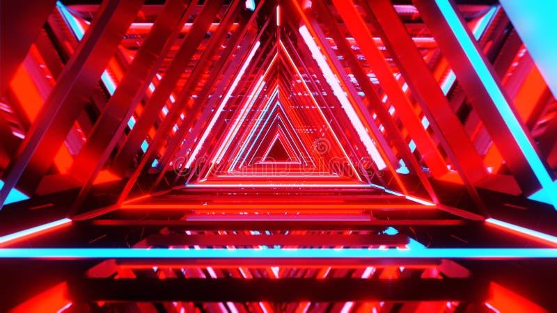 Triangles au néon abstraites avec l'intérieur vide noir de l'espace de copie illustration stock