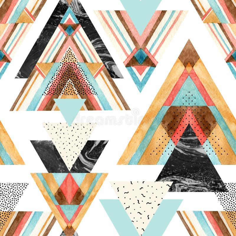 Triangles with aztec ornament, watercolor, doodle, black marble textures. vector illustration