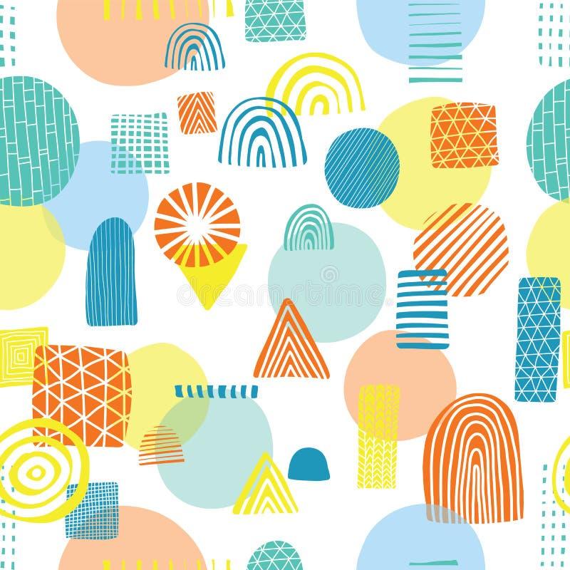 Triangles, cercles, rectangles, orange de demi-cercles, jaune, et bleue sur un modèle sans couture de vecteur de fond blanc Résum illustration libre de droits
