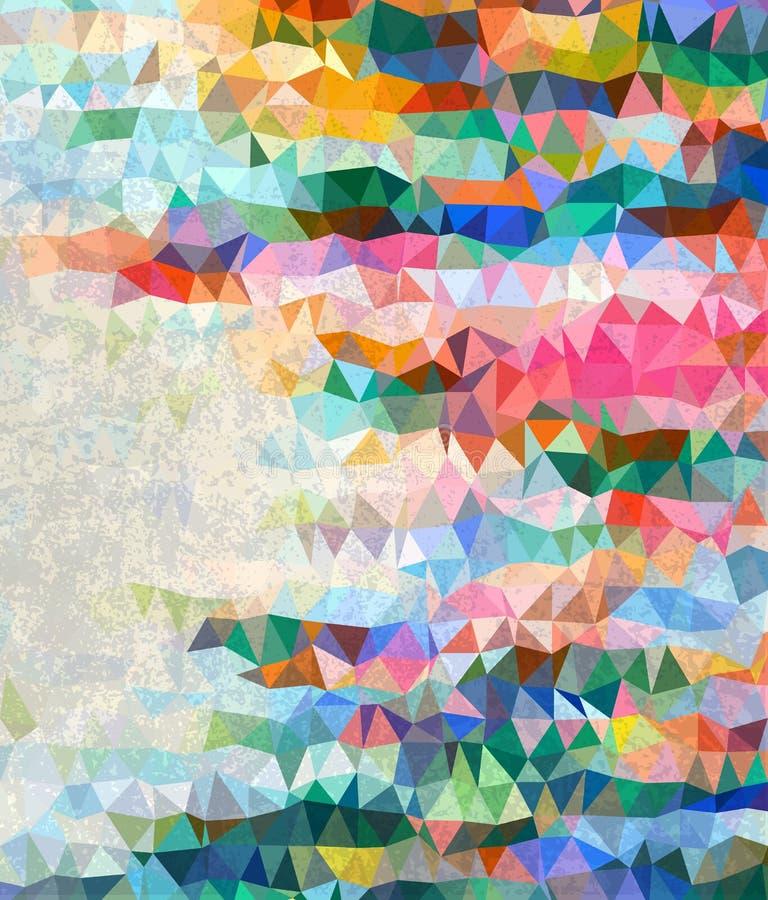 Triangles colorées abstraites avec la texture grise de rancune illustration libre de droits