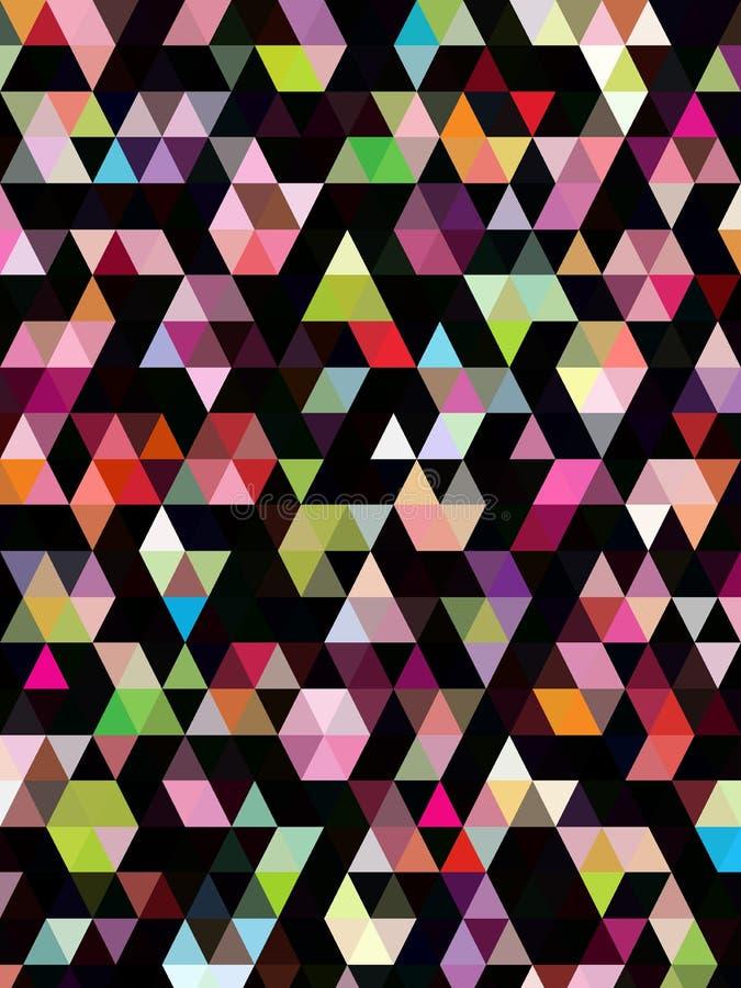 Triangles colorées abstraites sur le papier peint noir illustration libre de droits