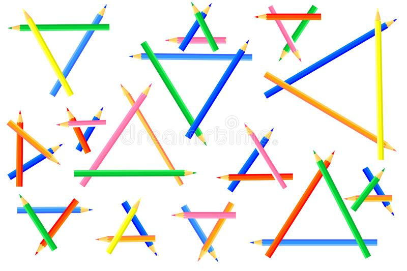 Triangles, created from colored pencils. stock photos