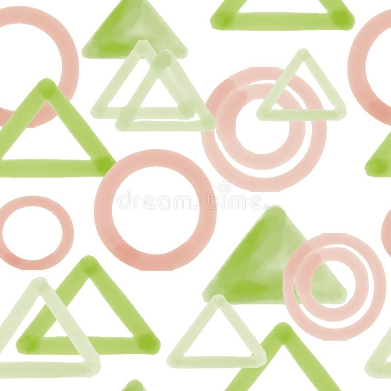 Triangles de Digital et modèle sans couture de cercles sur le fond blanc illustration stock