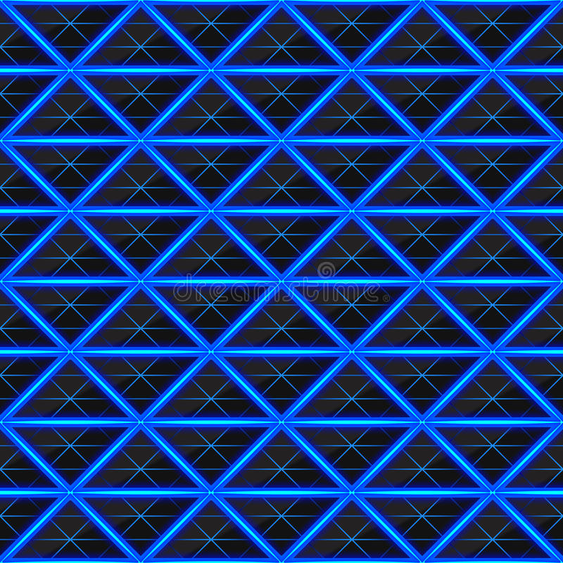 Triangles de pierre noire avec les filets chauds bleus de l'énergie Texture sans joint de vecteur Configuration sans joint de tec illustration libre de droits
