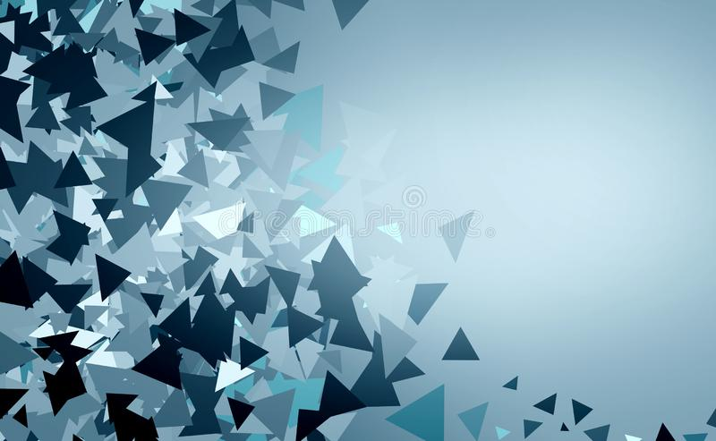Triangles with different shades. Illustration. Abstract background with frame made of triangles with different shades of blue royalty free illustration
