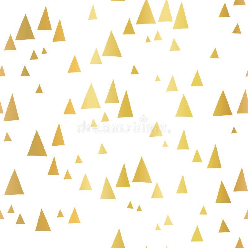 Triangles dispersées de feuille d'or sur le modèle sans couture blanc de vecteur Géométrique abstrait Paysage abstrait de montagn illustration libre de droits