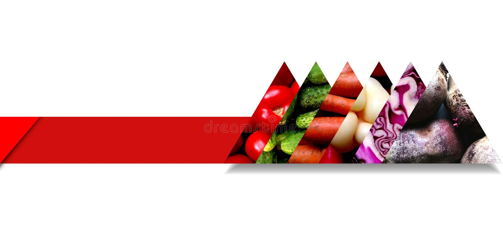 Triangles filled with vegetables and situated on a ribbon. Set of fresh vegetables, namely tomatoes, cucumbers, carrots, sweet peppers, red cabbage and beetroots stock illustration