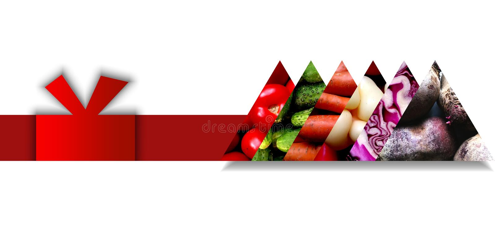 Triangles full of vegetables and situated on a single ribbon. Set of six aligned triangles full of various vegetables: tomatoes, cucumbers, carrots, sweet royalty free illustration